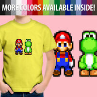 8-Bit Pixel Super Mario Bros Yoshi Retro Nintendo Toddler Kids Tee Youth T-Shirt