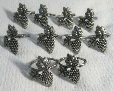 "New listing 10 Metal Grape Cluster Leaf & Vine Napkin Rings, 1-1/2"" X 2"" Antiqued Metal New"