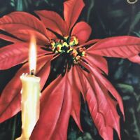 Vintage Mid Century Christmas Greeting Card Realistic Poinsettia Candles Flame