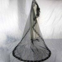 Bridal Gothic Wedding Veil Black Rose Punk Victorian Rave Fancy Dress EA7Z