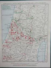 1918 WW1 MAP EGYPTIAN EXPEDITIONARY FORCE ~ ADVANCE INTO MOUNT EPHRAIM & SHARON