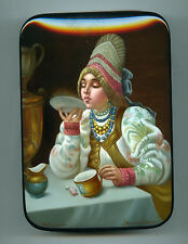 """Russian Lacquer box  Fedoskino """"Tea party."""" Hand Painted"""