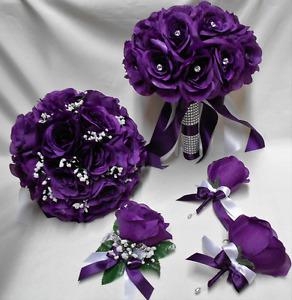 18 Piece Package Silk Flower Wedding Bridal Bouquet PURPLE EGGPLANT ROSE