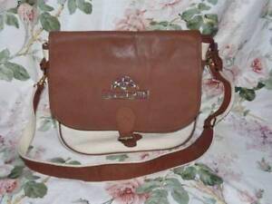 L. CREDI Schultertasche Tasche Leinen Leder 80er 80s Vintage Leather BAG Satchel