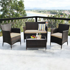 4PCS Rattan Patio Furniture Set Cushioned Sofa Chair Coffee Table Garden