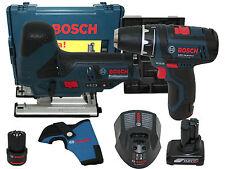 Bosch Akku Bohrschrauber GSR10,8-2-LI + Akku Stichsäge GST10,8V-LI + 3 Akkus