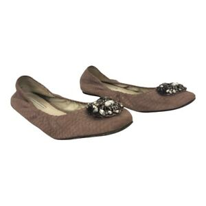 Vera Wang Lavender Label Womens Size 10 Blush Snakeskin Embellished Flats