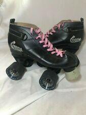 Cobra Roller Derby Black Speed Skates Size 5 Pink Detail Wheels