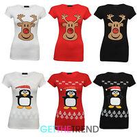 Womens Novelty Xmas Top Ladies Christmas Print T-Shirt Santa Penguin Rudolph