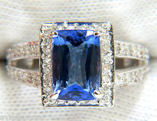 █$6,600 3.49CT NATURAL CUSHION TANZANITE DIAMOND RING SPLIT SHANK 14KT █