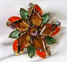 BOOK PIECE Vtg~D&E JULIANA~Hyacinth TOPAZ~AB RHINESTONE Diamond Cut Brooch/Pin