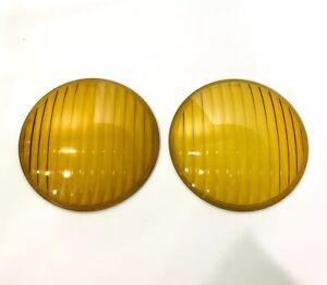 Pair (2) Amber Fog Light Glass Lenses for 1936-38 Chevy
