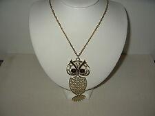 Vintage Large Signed SARAH COVENTRY Goldtone & Owl Pendant Necklace