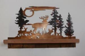 Wall Mount Decorative Metal Art Key Holder Rack with Shelf & Deer Wildlife Scene