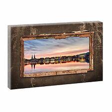 Bild auf Leinwand Fensterblick Hamburg Alster Poster XXL 100 cm*65 cm 209 q