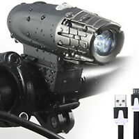 USB Rechargeable LED Bicycle Bright Bike Front Headlight Outdoor Lamp Waterproof