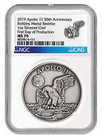 1969-2019 Apollo 11 Robbins Medals 1 oz Silver-Pltd Medal NGC MS70 FDP SKU55122