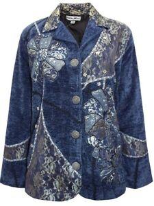 Ladies Dark Blue Overlay Patchwork Embellished Velvet Jacket Sze 16-20 LJOct13-3