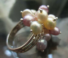 sz 10 FAUX PEARL CLUSTER WOMENS SILVER 925 COCKTAIL RING