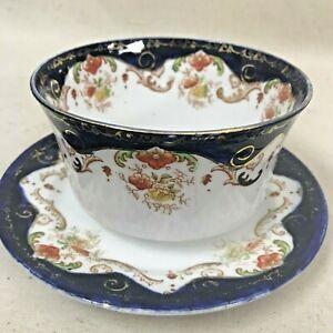 Vintage Melba Bone China Set of Cobalt Blue England Bowl and Side Plates Crown