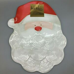 Nicole Miller Santa Melamine Cookie Serving Tray Platter Holiday Christmas 19""
