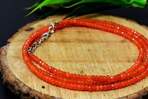 69 Cts Earth Mined Orange Carnelian Round Cut Beads Necklace Jewelry JK 26E301A