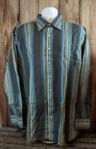 Gap, Fitted Premium Men's 17-17 1/2, Button Up Shirt, Multicolor Striped. XL-1