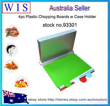 PK of 4 Plastic Chopping Boards Polypropylene with Case Holder,Cutting Board Set