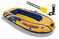 Intex Challenger 2 Inflatable 2 Person Floating Boat Raft Set w/ Oars & Air Pump