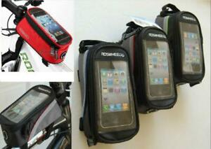 Cycling Bike Frame Pannier Front Tube Touch Screen Cell Phone Bag Black & Green