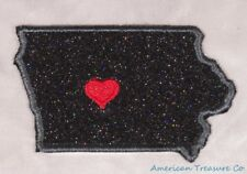 Embroidered Black Glitter Sparkle Iowa IA Love State Patch Iron On Sew On USA