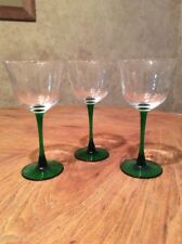 Green Stem And Base. Tulip Shaped Bowl. Wine Glasses. Set Of 3