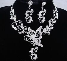 necklace set silver pl metal butterfly flower clear crystal bridal wedding FIOJ