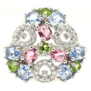 Multi Color Tourmaline Peridot Violet Tanzanite CZ Silver Ring 7.5