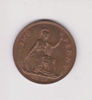 RARE.British 1937.PROOF George VI One Penny. R.419