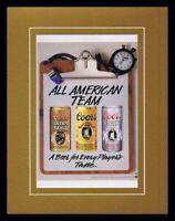 1988 Coors Light Beer / Football Framed 11x14 ORIGINAL Vintage Advertisement B