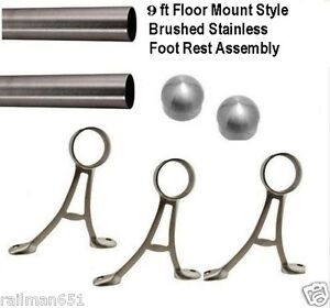 9 Ft. Brushed Stainless Steel Bar Foot Rail Kit- Floor Mount Style Foot Rest
