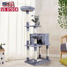 "60"" Cat Tree Activity Tower Pet Kitty Furniture w/ Scratching Post Board Hammock"