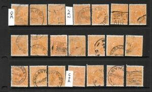 Stamps Australia Bulk 1/2d Orange KGV Heads x 21 Good/Fine Used