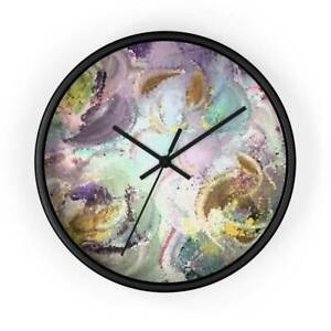 Lilac Bliss Mosaic Design Abstract Art Wall clock in Lilac, Purple, Green, Rose,