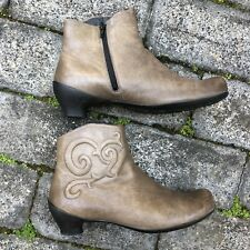 Think! Nubuck Leather Ankle Boots Sz 39 Western zip Up Comfort Shoes EC