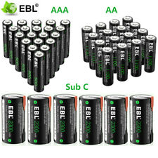 Lot EBL AA AAA Sub C SC Cell Ni-Cd 500mAh 1100mAh 2300mAh Rechargeable Batteries