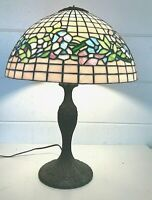 "Antique ART NOUVEAU Stained Carnival Glass 22"" Table Lamp 16"" Shade Leaded SLAG"