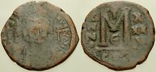 050. Byzantine Coin. Justinian I. Ae-Follis. Constantinople. Vg