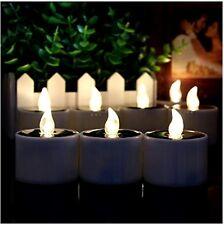 6 * Electronic Solar Power LED Light Yellow Tea Candles Cup Flickerin Tea lights