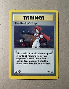 MINT 1st Edition Rocket's Trap Trainer HOLO Gym Heroes Pokemon 19/132 PSA READY