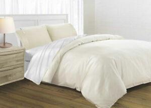Beige Ivory Silk Soft Satin Queen Quilt Cover Pillow Case Set 125GSM Duvet Doona