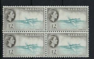 BARBADOS 1953-61 QEII 12c Flying Fish SG296 Block of 4 MNH