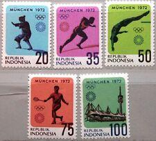 INDONESIA INDONESIEN 1972 711-15 823-27 Olympics München Sport Judo Stadium MNH