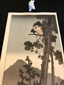 Yoshimoto Gesso, japanese woodblock print, original late print, japan art, owl,